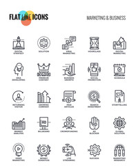 Flat line icons design-Marketing and Business