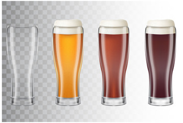 Set of realistic tall beer glasses with different main types of beer. Classic light beer, dark, red and empty glass on transparent background. Vector illustration of a 3d style