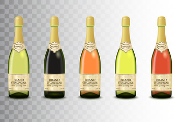 Vector set of different champagne wine bottles on transparent background