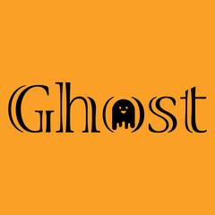 Logotipo Ghost con fantasma en O negro en fondo naranja