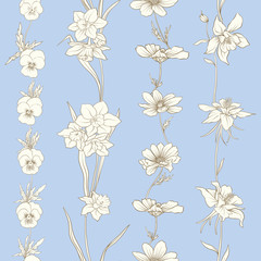 Colored floral seamless pattern with flowers in vintage style. S