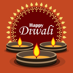 Diwali. Indian holiday of lights. Card. Congratulation. For your design.