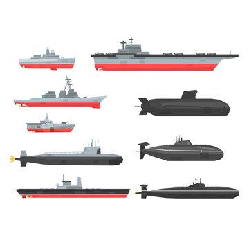Naval combat ships set, military boats, ships, submarine vector Illustrations