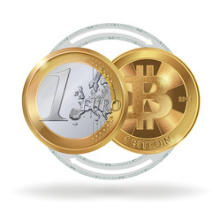 Image of 1 Euro coin and 1 bitcoin as a symbol of exchange cryptocurrency. Digital currency exchange. Stock vector illustration.