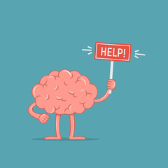 Cartoon character brain holding placard with the word Help. Concept design the brain need help.