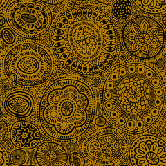 Seamless pattern. Seamless botanic texture, detailed dots and circles illustrations. Ethnic pattern in doodle style, summer floral background. All elements are not cropped and hidden under mask. Black