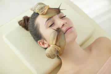 Woman with snails
