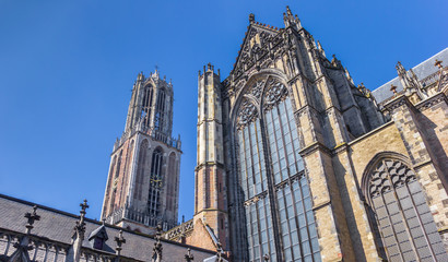 Fototapete - Dom church and tower in the historic center of Utrecht