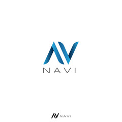 abstract letter A, V, and N concept logo for navigation, app, map, service, business or web.