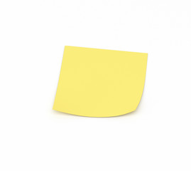 Yellow sticky note reminder on a white background, 3D render