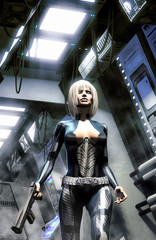 Wall Mural - Futuristic woman in spaceship corridor