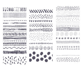 Set of vector seamless hand drawn ink textures. It can be used for simple and creative striped seamless patterns. Collection of handwritten brushes.