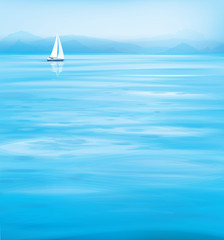 Vector blue sea  and yacht, mountains  background.