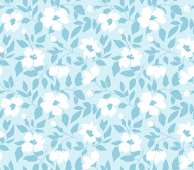 Vector seamless background with  wild roses, vintage style. Hand drawn fabric design. Stylish blue floral seamless pattern.