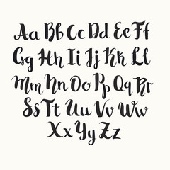 Lettering latin vector alphabet. Black english letters poster. Isolated on white background