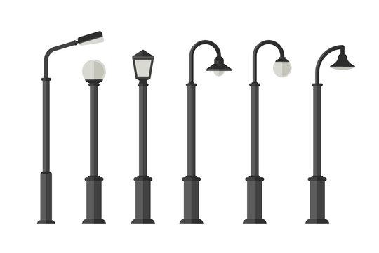 Street lighting flat icons