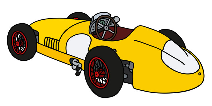 Vintage yellow racing car