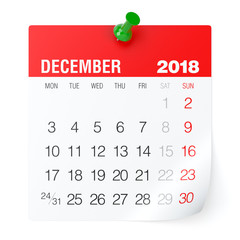 December 2018 - Calendar