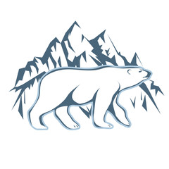 White polar bear drawn against a background of snow mountains