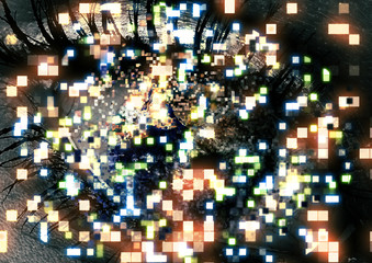 目から飛び出すたくさんのピクセル