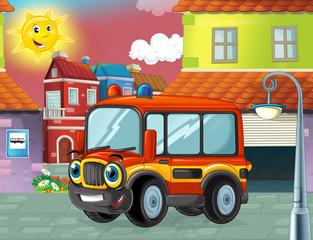 funny looking cartoon fireman bus standing near garage - illustration for children