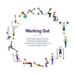 Cartoon Girl and Boy Workout Exercise in Gym Banner Card Circle. Vector