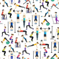 Cartoon People Workout Exercise in Gym Background Pattern on a White . Vector