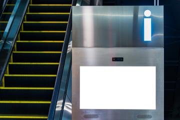 White mokeup billboard and escalator