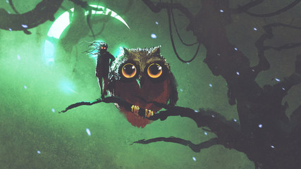 the giant owl and its owner standing on a branch in night forest with green sky, digital art style, digital illustration
