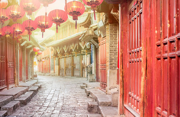 Chinese old town in the morning , Lijiang Yunnan ,China Wall mural