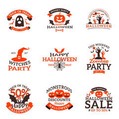 Set of happy Halloween badges. Vector design elements for greetings card, party flyer and promotional materials. Vector illustration