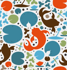 Seamless texture with inhabitants of the pond. Fish, carp, goldfish, water lilies, dragonfly. Vector decorative pattern, cute background