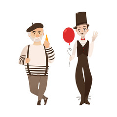 French characters, mime and cheese loving gourmand, symbols of France, flat cartoon vector illustration isolated on white background. Typical, stereotypical French men, people - mime and gourmand