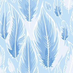 Background with blue feathers/Color seamless pattern in the style of Boho