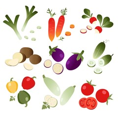 Set of vegetables on white background