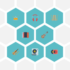 Flat Icons Tambourine, Earphone, Musical Instrument And Other Vector Elements. Set Of Studio Flat Icons Symbols Also Includes Harmonica, Vinyl, Retro Objects.