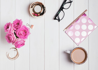 Woman's accessories, roses and coffee