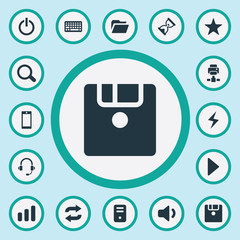 Vector Illustration Set Of Simple Technology Icons. Elements Begin, Keypad, Hourglass And Other Synonyms Headphone, Power And Magnifier.