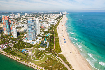 South Beach Miami Skyline Aerial View, Florida