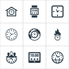 Vector Illustration Set Of Simple Time Icons. Elements Equipment, Global Time, Tablet And Other Synonyms Watch, Tablet And Management.