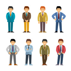 Cartoon caucasian man in business suit set flat style. Different poses and clothes.