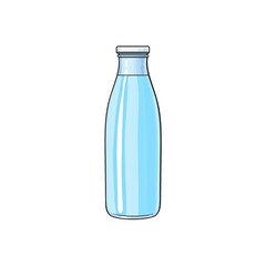 Vector cartoon glass bottle of fresh cold water. Isolated illustration on a white background. Soft drink, refreshing beverage image.