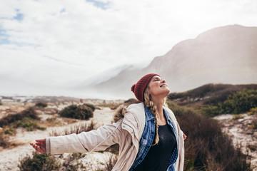 Woman enjoying happy moments