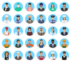 Avatars characters people of different occupation set. Professions persons icons of faces on a blue background.