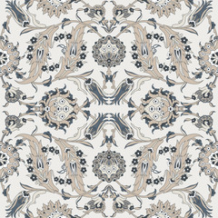 Arabesque vintage decor floral ornate pattern for design template vector. Eastern motif. Painting flowers decoration print. Silver white grey illustration for invitation, wallpaper, wedding, wrapping