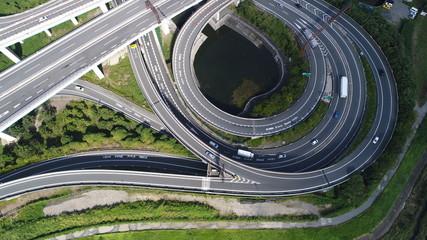 ドライブ ドローン 空撮 京都 大阪 高速道路 インターチェンジ 立体交差 8月 9月 10月 11月 曲線 直線 池 緑