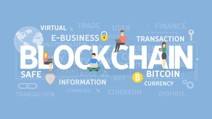 Blockchain illustration concept.
