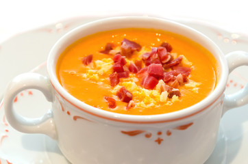 Salmorejo typical andalusian cold soup of tomato served in a bowl