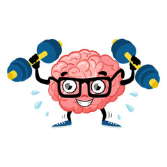 Train brain. Cute cartoon brain. Flat fun illustration character. Smart,brain fitness concept. Train lifts with dumbbell. Fitness cartoon brain concept. Doodle style. Vector illustration