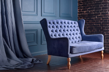 Fototapeta Antique wood sofa couch in vintage room. Classical style armchair. obraz